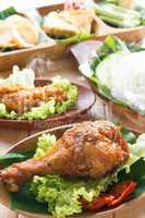 Delicious Asian food nasi ayam penyet