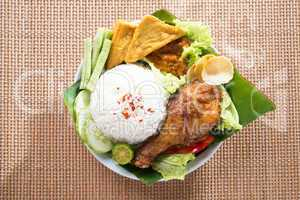 Tasty Asian food nasi ayam penyet