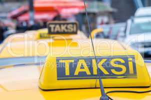Taksi sign on a yellow cab in Istanbul
