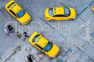 ISTANBUL, TURKEY - SEPTEMBER 13, 2014: Taxis await customers in