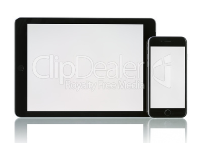 Phone 6 and Tablet pc Air 2 Wi-Fi + Cellular with white blank sc