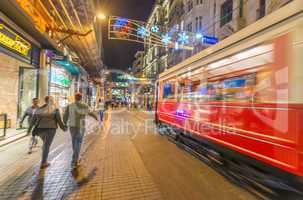 ISTANBUL, TURKEY - SEPTEMBER 13: Old tramway speeds up in Istikl