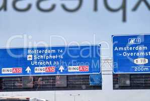 Amsterdam. City streets signs and directions