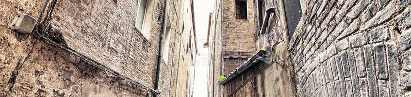 Ancient Medieval Buildings Walls of Siena, Italy