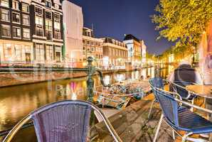 Canals of Amsterdam, beautiful night view