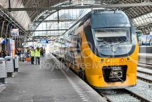 AMSTERDAM, APR 30: Train in central station, April 30, 2013 in A