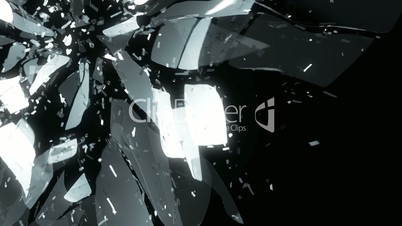 Glass shattered and broken slow motion and motion blur. Alpha matte