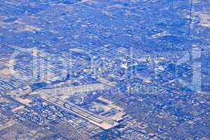 Aerial view of urban sprawl