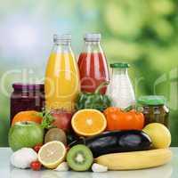 Vegetarische Ernährung Früchte, Gemüse, Obst und Saft Geträn
