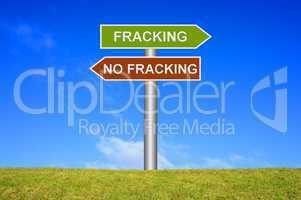 Schild Wegweiser: Fracking / No Fracking