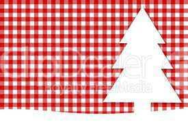 Weihnachtskarte mit Tannenbaum und Tischdeckenmuster rot weiß