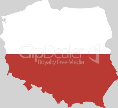 Karte und Fahne von Polen