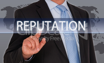 Reputation - Businessman with touchscreen
