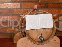 Wooden barrel with note