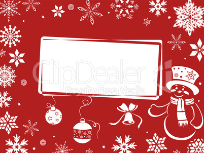 Christmas greeting card in red shades