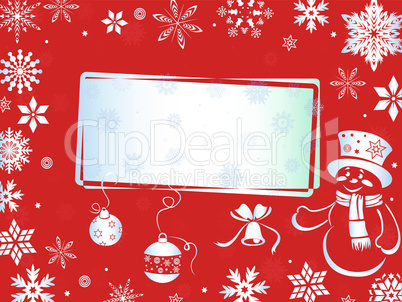 Christmas greeting card in red hues
