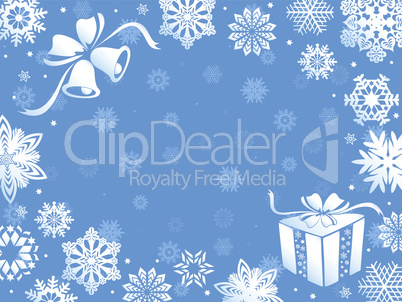 Christmas greeting card in blue hues