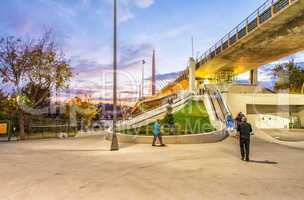 Pedestrian entrance of New Galata Bridge over Golden Horn river