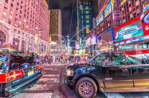 NEW YORK CITY - JUN 8: Nighttime lights in Times Square, with pe