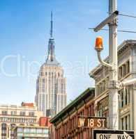 Street signs and buildings of New York