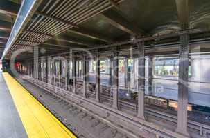 Fast moving train in Manhattan subway - New York transportation