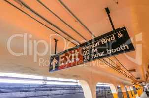Exit sign in Manhattan subway