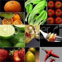 Organic Vegetarian Vegan food collage  dark