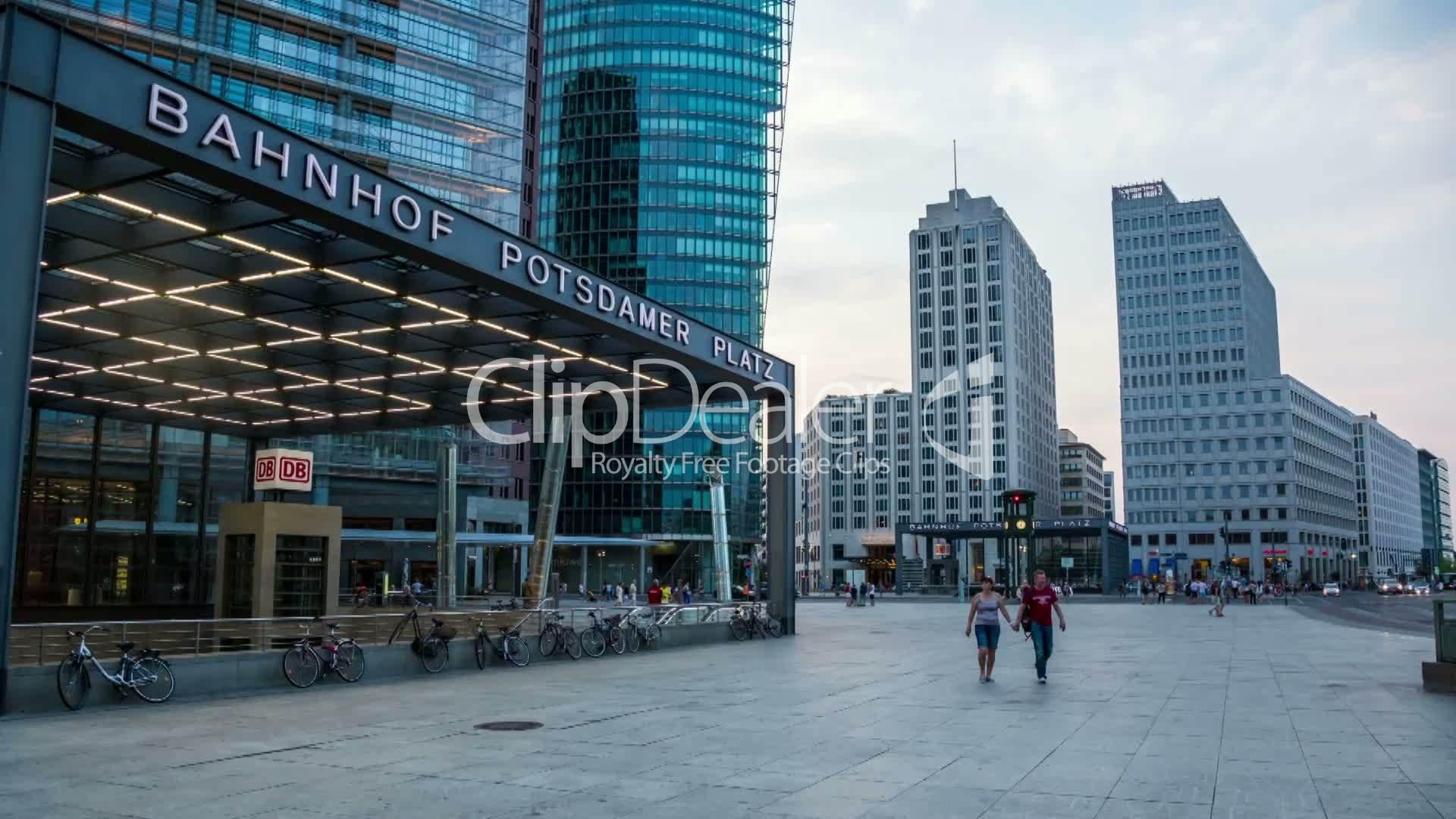 Berlin potsdamer platz in the evening dslr hyperlapse royalty hyper lapse ccuart Images