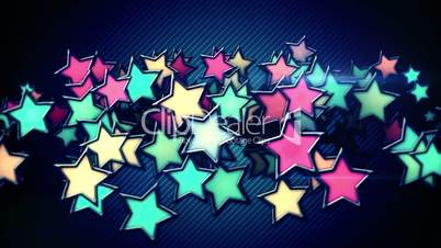 glowing colorful stars loop background