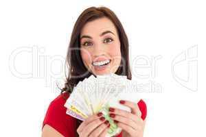 Pretty brunette holding her cash