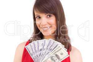 Brunette showing fan of dollars