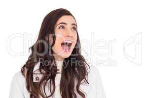 Beauty brown hair in white coat screaming