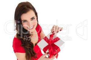 Happy brown hair opening gift