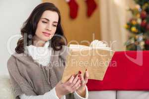 Relaxed brunette reading on the couch at christmas