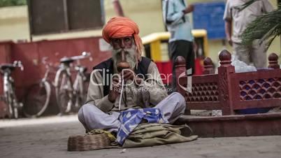 Street snake charmer. India.