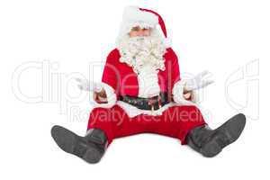 Doubtful santa sitting alone