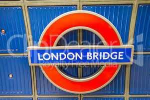 LONDON - SEPTEMBER 28, 2013: London Bridge underground sign. Lon