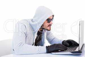 Serious burglar hacking into laptop