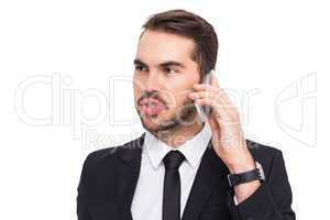 Smart businessman speaking on the phone