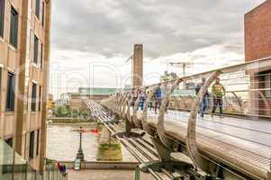 London - Millennium Bridge over river Thames