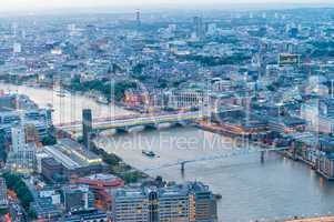 London at night. Aerial city view with Thames river and building
