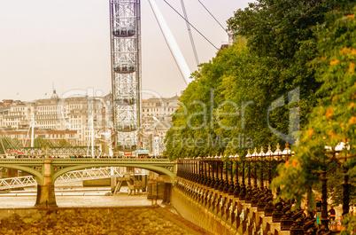 LONDON - SEPTEMBER 28, 2013: View of London Eye, Europe's talles