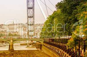 LONDON - SEPTEMBER 28, 2013: View of London Eye, Europe's talles