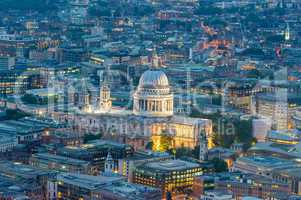 St Paul Cathedral in London. Amazing aerial night view