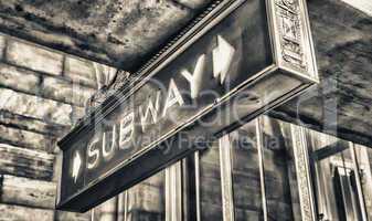 Subway old vintage sign in New York station