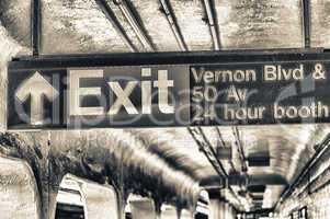 Subway exit sign in New York