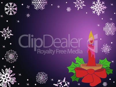 Christmas greeting card in dark purple