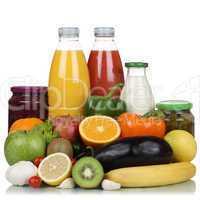Früchte, Gemüse, Obst, vegetarisch Lebensmittel und Saft Getr