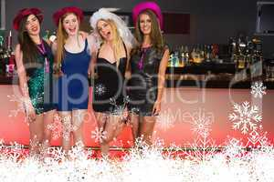 Portait of laughing friends having a hen party