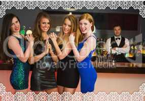 Sexy friends posing in front of barkeeper